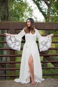 Bohemian Wrap Wedding Dress Rustic Wrap Wedding Dress