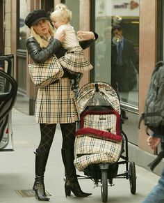 Burberry Stroller; Ex sopa star Daniella Westbrook and her baby step out in London wearing matching Burberry check