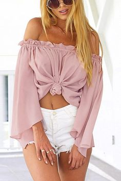 Off Shoulder Chiffon Top with Long Sleeves