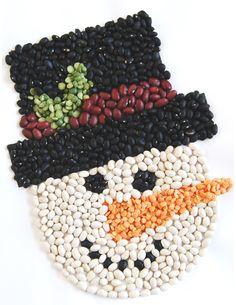 Snowman Bean Mosaic with Snowman Soup - Adventskranz Selber Machen Seed Crafts For Kids, Fall Arts And Crafts, Crafts For Seniors, Rock Crafts, Craft Activities For Kids, Preschool Crafts, Seed Art For Kids, Snowman Soup, Snowman Crafts