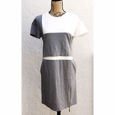 ICB New York Grey & White Colorblock T-Shirt Dress ICB New York by Prabal Gurung Gray & White Zipper Ponte T-Shirt Dress. This dress has a Relaxed and Comfortable Style, but with an edge. Side Zipper Detail allows you to adjust the Hemline and give this Midi T-Shirt Dress a Sexy Slit up to the Knee. The Contrasting Gray and White Panels Overlay I'm a Square and Rectangle Pattern. Size XS. NWOT. ICB New York Dresses