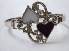 Vintage Signed Silver Black and White Heart Enamel Cuff Bangle Bracelet via Etsy