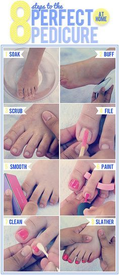 The Style Dossier: At home pedi in 8 easy steps - DIY Pedicure at Home & DIY Home Manicure Diy Nails, Cute Nails, Pretty Nails, Pedicure At Home, Manicure And Pedicure, How To Do Pedicure, Beauty Care, Diy Beauty, Sara Beauty