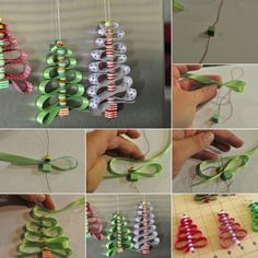 To make each of these ribbon and beads Christmas trees you will require beads preferably a bit larger in size, ribbons, thread and a needle.