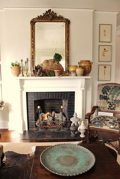 The perfect Tuscan accent over a fireplace mantel, in a bedroom, living room or home office. Paint Fireplace, Fireplace Ideas, Mantel Ideas, Decor Ideas, Fireplace Mantles, Black Fireplace, Paint Brick, Fireplace Makeovers, Fireplace Brick