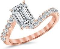 2.51 Ctw 14K Rose Gold GIA Certified Emerald Cut Twisting & Curving Diamond Engagement Ring