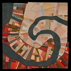 Leah Evans map-inspired quilt - Set River: Lost Boat, 2012 commercial cotton, hand-dyed and printed cotton, silk and wool Textiles, Map Quilt, Quilt Modernen, Landscape Quilts, Collage Landscape, Textile Fiber Art, Illustration, American Crafts, Quilt Sets