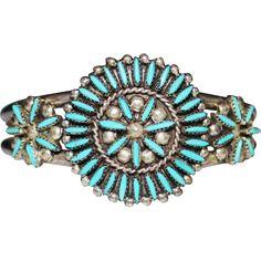 Vintage ZUNI Sampson & Lucille Bowekaty Needle Point Turquoise Cuff Bracelet found at www.rubylane.com @rubylanecom