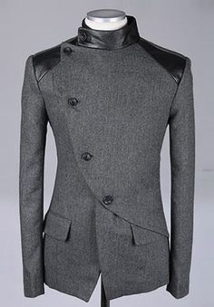 Men Fashion British Style Long Sleeve Slant Buttons Design Grey Polyamide Coat M/L/XL@S0-6381-1g Diseño fuera de lo común de saco