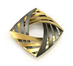 Interlock Square Brooch: Keiko Mita: Gold & Silver Brooch - Artful Home
