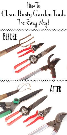 How To Clean Rusty Garden Tools – The Easy Way! How to Clean Rusty Garden Tools - This is super easy and it works!How to Clean Rusty Garden Tools - This is super easy and it works! Unique Garden, Diy Garden, Lawn And Garden, Garden Projects, Garden Tools, Garden Landscaping, Garden Ideas, Garden Grass, Garden Care