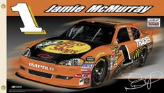 Jamie McMurray J-MAC NATION Giant 3'x5' NASCAR Flag - #1 Bass Pro Shops Chevrolet Impala - available at www.sportsposterwarehouse.com Nascar Flags, Sports Flags, Jamie Mcmurray, Flags For Sale, Nascar Racing, Chevrolet Impala, Car And Driver, Formula One, Diecast