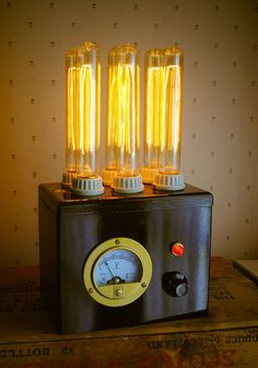 Steampunk Laboratory Lamp by kemplinr on Etsy Steampunk House, Steampunk Lamp, Pipe Lighting, Cool Lighting, Led Neon, Diy Luminaire, Wooden Lamp, Pipe Lamp, Vintage Lighting