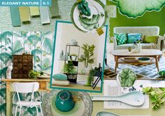 """MILOU KET INTERIORS 2015/2016 Moodboard """"Second Nature"""" from Milou Ket Interiors 2015/2016 in shades of greens and blues. Photo by Milou Ket..."""