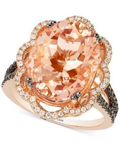 Le Vian Peach Morganite and Diamond Ring in Rose Gold Gold Rings Jewelry, Body Jewelry, Gemstone Jewelry, Fine Jewelry, Diamond Jewelry, Diamond Rings, Jewelry Watches, Jewelry Making, Saphir Rose