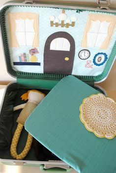 doll with vintage suitcase play house with handsewn interchangeable backdrops...so lovely!
