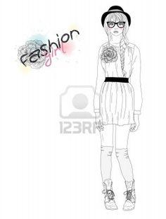 Jong mooi meisje, mode, illustratie. Vector illustratie. Achtergrond met tiener vrouw in modieuze kleding. Stockfoto - 10772624