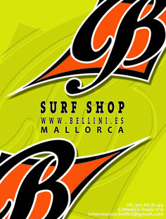 Bellini surf shop. Logo. design mallorca. windsurf