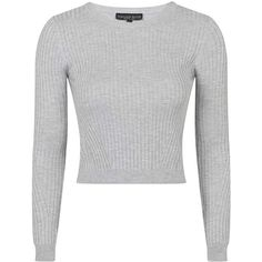 TOPSHOP PETITE Travelling Rib Jumper ($45) ❤ liked on Polyvore featuring tops, sweaters, grey marl, petite, topshop, crop top, topshop jumper, grey crop top and petite tops