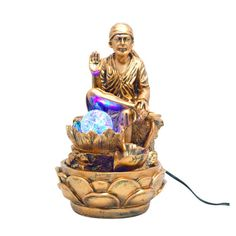 """""""Shri Sai Water Fountain (Copper Color)"""" Good Morning Motivational Messages, Table Fountain, Yellow Paper, Resin Material, Yellow Print, Lamp Sets, Copper Color, Decorative Items, Contemporary Design"""