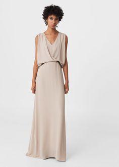 Vestido largo abalorios | MANGO