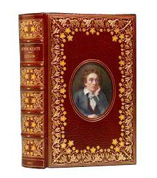 John Keats biography in Cosway-style binding--with an inset watercolor portrait of Keats--by Bayntun-Rivière, 1917.  (BRB 74184)