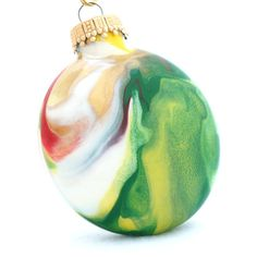 Handmade Christmas Disc Ornament Painted Inside by creationsbyjdb