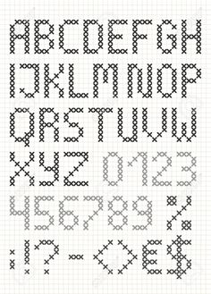 Point de croix alphabet anglais avec des chiffres et des symboles. Majuscules