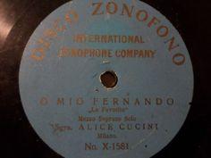 Big 50% Discount Auction !!!                  SGRA. ALICE CUCINI Mezzo Soprano Solo  O Mio Fernando  rarest lightblue Zonofono #78rpm #Schelackplatte
