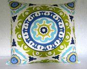 """Suzani Decorative Pillow cover in """"Solar Flair"""" Lime Indigo"""