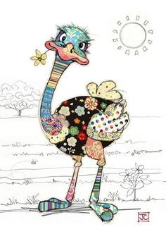 Details about KOOKS by Bug Art - Cute & Quirky Greeting Card - OZZIE OSTRICH - Designed by Jane Crowther and imported from the U., these cards are cute and quirky with a patchwork design. Blank inside for you personal greeting. Applique Patterns, Applique Quilts, Applique Designs, Quilt Patterns, Hand Applique, Canvas Patterns, Pintura Graffiti, Art Carte, Drawn Art