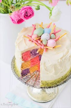 Elegant Spring Checkerboard Cake with a decorative speckled egg nest cake decor