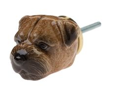 Hand painted porcelain Border Terrier head doorknob with brass cap and a metal fixing bolt.