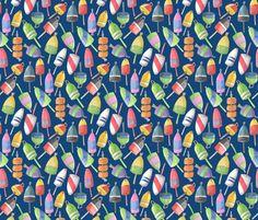 Lobster buoys-blue fabric by artlesliemark on Spoonflower - custom fabric