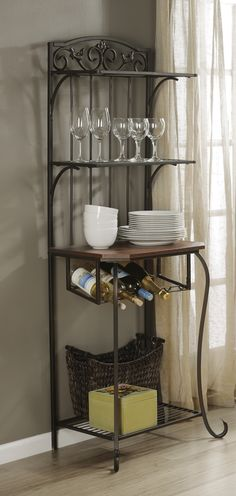 Metal Baker's Rack With Wine Storage from Kirkland's Bakers Kitchen, Kirkland Home Decor, Bakers Rack, Wood Steel, Tuscan Decorating, Painted Chairs, Home Additions, Wine Storage, Home Organization