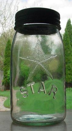 Antique Clear Star Quart Fruit Jar Sealer