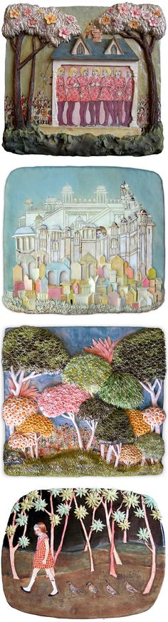 amanda smith - strange stories brought to life on ceramic slabs...reminds me of my work...NEVER too much detail!