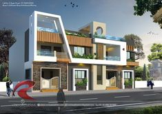 Rc Visualization is a growing Plan & Elevation Designing company in Indore India. We are expert in architectural Planning, Elevation Designs, interior designs and realistic renderings. House Main Gates Design, 3 Storey House Design, House Front Design, Modern House Design, Front Elevation Designs, House Elevation, Architecture Company, Architecture Plan, School Building Design