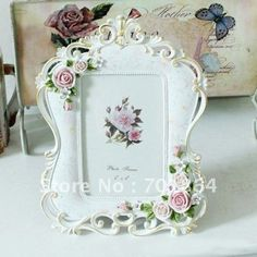 "Size 4 x 6"" White Photo Frames with Rose Flowers Decorations Square Design Resin Craft Sweety Gift Free Shipping"