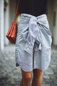 casual + cute tied shirtwaist skirt