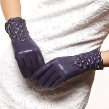 ELMA Women's Winter Women's genuine leather ruched gloves  Gold Plated logo