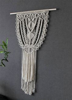 Macrame wall hanging on bamboo dowel  Giant  Bohemian by Kadabros