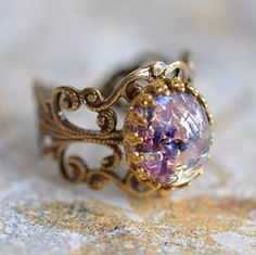 Purple Opal Ring, Brass and Vintage Art Glass