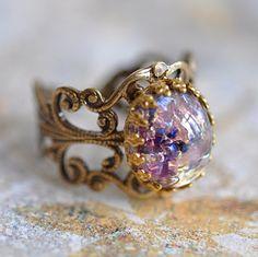 LOVE! purple opal in brass setting