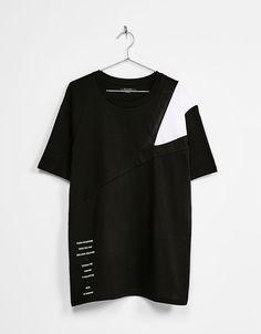 Chevron and mesh T-shirt - T-Shirts - Bershka United Kingdom