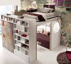 Maybe one of these days, I will live in a loft in a city and this will be my bedroom! More