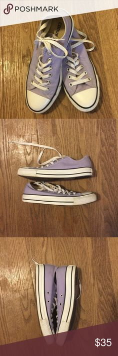 Converse All Star Chuck Taylors Lilac Rare Color Adorable Converse Chuck Taylor's in beautiful Lilac color. These were worn once then never again as they are sadly too big for me. This size fits like an 8.5 in women's. No rips or stains. I will clean up the soles before sending them out! Converse Shoes Sneakers