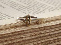 Brass Key on Sterling Silver Ring