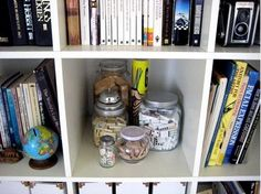 Game pieces in jars..cute decoration idea for a game room