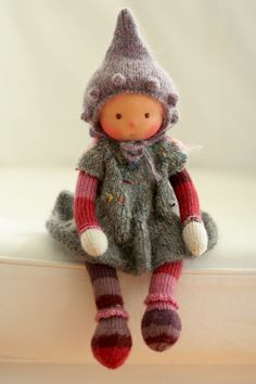Waldorf knitted doll Joan 13 by Peperuda dolls by danielapetrova
